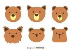Collection set of various form cute brown bear face on white background.