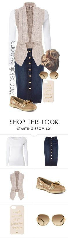"""Apostolic Fashions #854"" by apostolicfashions on Polyvore featuring White Stuff, River Island, maurices, Sperry Top-Sider, Kate Spade and Oscar de la Renta #denimskirt"