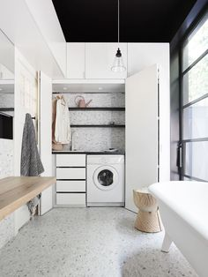 If space is at a premium, then consider the trend of a small European laundry. With European laundry ideas, inspiration & design tips, we will ensure you are on the right path for an efficient small modern laundry. Laundry Bathroom Combo, Laundry Cupboard, Laundry Closet, Laundry Rooms, Bathroom Gray, Bathroom Small, Cupboard Doors, Bathroom Towels, Master Bathroom