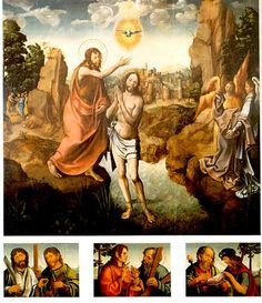 A1260   Vasco Fernandes   Baptism of Christ, and Saints   Altarpiece with tripartite predella 1530-1535   Painting   Oil on panel 211.5 x 231.5 cm   Museu Grão Vasco   Viseu, Portugal   Inv. nr. 2157