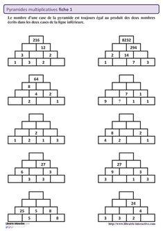 50 pyramides multiplicatives sur 5 fiches autocorrectives pour travailler les tables de multiplication mais aussi la division et la multiplication posée. Mental Maths Worksheets, Maths Puzzles, Math Resources, Math For Kids, Fun Math, Multiplication Posée, Logic Math, Abacus Math, Math Addition