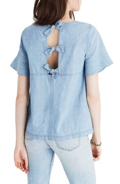 madewell chambray tie back top