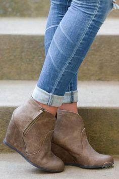 Move On Wedge Booties - Tan                                                                                  http://spotpopfashion.com/ec24               shop                                                                                More