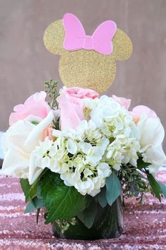 Floral Minnie Mouse Centerpiece from a Glamorous Floral Minnie Mouse Birthday Party on Kara's Party Ideas | KarasPartyIdeas.com (11)