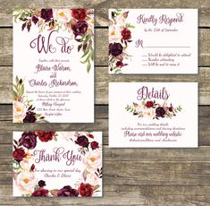 Printed Wedding Invitation Fall Floral Wedding Watercolor
