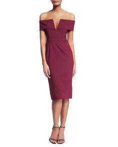 Off-The-Shoulder Ponte Dress, Women's, Size: 0, Red - Nicholas