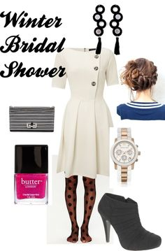 Winter Bridal Shower-- I love the tights and the Michael Kors watch
