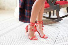 red heels, how to wear red heels, tassel heels