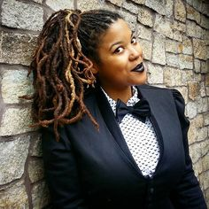 #fancy sunday. Feeling #dapper. Channeling my inner @jherekbischoff.  #dapperqueer #style #queerstyle #wiw #ootd #blackandwhite #bowtie #womeninbowties #womeninmenswear #ponytail #dreadlocks #womenwithlocs #teamnaturalhair #naturalhair #locstyles #highponytail #blacklipstick #locloveliveshere #haironfleek #qwoc #dreadlocs