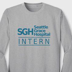 Seattle Grace Hospital INTERN T-shirt TV show Greys Anatomy Long Sleeve Tee