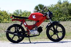 Garage - Build: The Wastelander Moped Motorcycle, Custom Moped, Motorized Bicycle, Cool Bicycles, Cars And Motorcycles, Mopeds, Garage, Cool Stuff, Vehicles