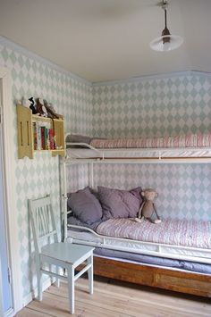 I would love bunk beds when the boys are older. Ferm Living Wallpaper, Little Girl Rooms, Kid Spaces, Children's Place, Girls Bedroom, Blue Bedroom, Bunk Beds, Bunk Rooms, Boy Room