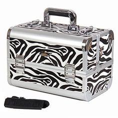 Zebra Print Makeup Case Cosmetic Artists Train Box Organizer w/ Shoulder Strap #SHANYCosmetics