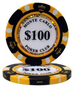"""(25) .... $5.45. These 14 gram Monte Carlo clay composite poker chips will bring the look and feel of a casino card room to any home game. A unique and attractive edge design surrounds an inlay that displays the denomination of each chip, the words """"Monte Carlo Poker Club"""", and a dazzling laser graphic strip that makes these chips sparkle and shine. These chips are eye-catching as well as classy. The chip is made with 3 color edge spots. These bulk chips are a... #money #poker"""