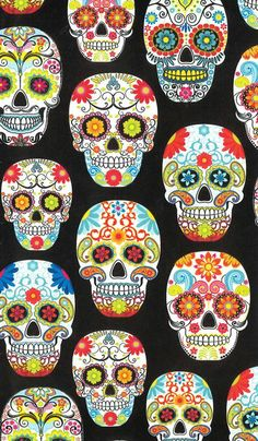 Novelty Cotton Fabric- Multi Skulls On Black, , hi-res ERMERGERD! For a CORSET I think YES!