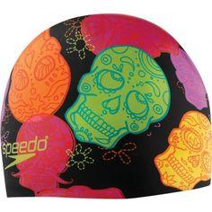 Fun new Speedo Esquelotos silicone swimming cap has a skull print.