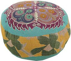 Jade Filled Cushion With Old Kantha & Embroidery