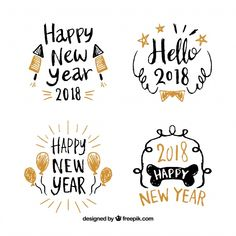 New Year Card Design, Happy New Year Design, Happy New Year 2019, Happy Year, Bullet Journal Graphics, Bullet Journal Tracker, Bujo, Notebook Sketches, Happy New Year