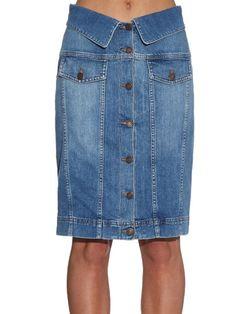 Moschino Buttoned stretch-denim pencil skirt