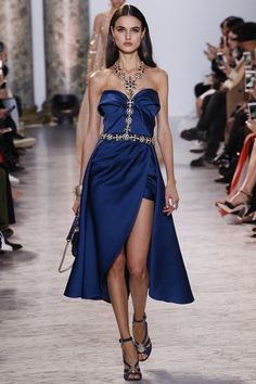 Elie Saab Spring 2017 Couture: Gorgeous and elegant! I like the blue with the gold embellishments!