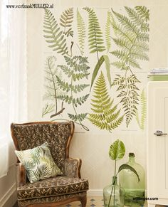 Give your walls a vintage flair with this botanical wall mural. The design has a wood grain background with leaf illustrations. Measures by when assembled. Printed on non woven material Paste not included Comes with 4 panels Measures by when assembled Botanical Bathroom, Botanical Decor, Vintage Room, Vintage Walls, Bath Decor, Bedroom Decor, Bedroom Ideas, Bathroom Decals, Master Bathroom