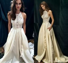 Ivory Lace Taffeta Boho Beach Wedding Dresses Custom Make New Design High Neck A-line Wedding Gown Dolce Vita by Lihi Hod 2016 Country Wedding Dresses Vintage Beach Bridal Gowns Prom Gowns Online with $136.0/Piece on Magicdress2011's Store | DHgate.com