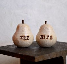 Wedding cake topper  Pair of Pears mr mrs  perfect pair by SkyeArt, $24.00.    I am pretty sure I will be getting these