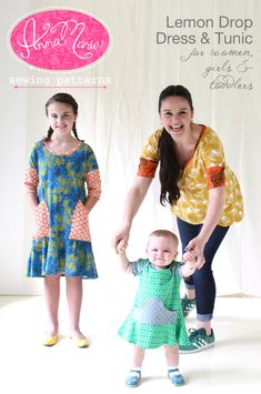 The Lemon Drop Dress & Tunic pattern is designed for simple knit garments   with charming shapes for women, girls and toddlers too! Every age category   has options for multiple sleeve lengths and a choice between a flouncy   dress or a smart tunic. Girls can choose to add patch pockets, and Tod