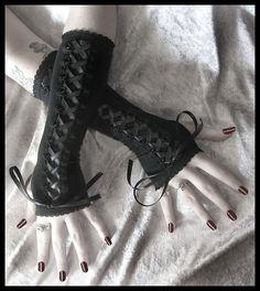 Restrained Gothic Lolita Corset Laced Up Arm Warmers w/ Ribbon - Goth Kuro Belly Dance Victorian Dark Tribal Fusion Bellydance Emo Wedding. $30.00 USD, via Etsy.