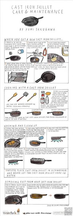 For cooking with and maintaining a cast iron skillet. Cast iron skillets are great for cooking because they're good heat conductors, meaning they get super hot, stay super hot, and cook your food evenly. Dutch Oven Cooking, Cast Iron Cooking, Fun Cooking, Cooking Tips, Cooking Supplies, Cooking Stuff, Country Cooking, Cooking Games, Cooking Turkey