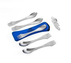 MagiDeal Camping Foldable Cutlery Tableware Titanium Fork Spork Outdoor Cooking Dining Tool