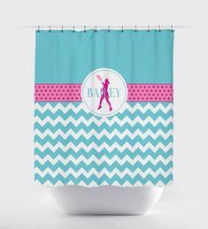 Lime Preppy Bathroom Standard or Extra Long Size Tennis Ball Green ANY COLOR Navy Blue Racket Tennis Shower Curtain for Boy or Girl