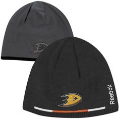 Reebok Anaheim Ducks Player Reversible Knit Hat - Black Charcoal 6b4f409822a2