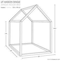 bonnesoeurs design lit maison house bed dimensions taille single size