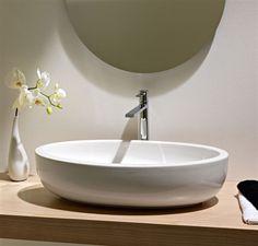 Scarabeo 8111 By Nameek's Planet Oval Shaped White Ceramic Vessel Bathroom Sink - TheBathOutlet Bathroom Niche, Wall Mounted Bathroom Sinks, Bathroom Colors, Bathroom Flooring, Small Bathroom, Bathroom Faucets, Bathroom Storage, Contemporary Bathroom Sinks, Lavatory Sink