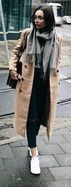 #fashion #winter #outfits Camel maxi coat + Beatrice Gutu + jeans + sneakers + oversized scarf. Coat: Missguided, Knitwear: Mango, Jeans: Asos, Scarf: H&M, Bag: Zara, Sneakers: Stan Smith.
