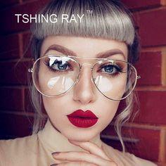 Vintage Eyewear Fashion Pilot Optical Eye Glasses Women Men Clear Lens Metal Frame Retro Aviation Female Male Goggle Eyeglasses