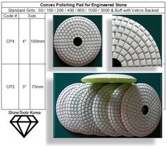 Convex Polishing Pad  For Engineered Stone #StoneTools #EngineeredStone #DiamondTools #Convex_Pad #Contour_Pad   Convex Polishing Pad are designed for curved stone polishing jobs; for fast and easy edge polishing on stone counter tops. Made in Korea guarantees consistent high quality.    Wet Use on Granite & Marble or Engineered Stone * Pressure : 1 - 5kg/㎠ * RPM : 3,500 - 4,500 Stone Polishing, Stone Countertops, Granite, Engineered Stone, Quality Diamonds, Counter Tops, Contour, Korea, Marble