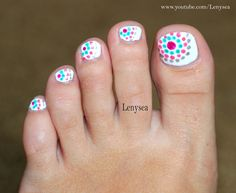 Cute and easy toe nail design for summer! http://@Christina  Watkins this would be good to try with my new dotting tool!!