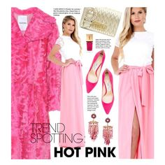 Trend Spotting: Hot Pink by beebeely-look on Polyvore featuring Valentino, Jimmy Choo, Miu Miu, Yves Saint Laurent, maxidress, lacedress, DesirVale and NYFWHotPink