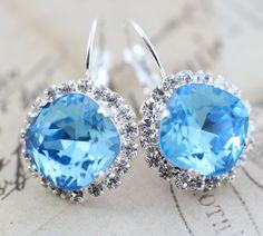 Aqua Aquamarine Earrings Blue Swarovski by inspiredbyelizabeth, $32.00