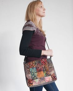 This messenger style crossbody bag is made from remnants of batik fabrics in rich colours, offset by brown upcycled fabric for the gusset. Fully lined and roomy with an adjustable strap! Crossbody Messenger Bag, Patchwork Bags, Card Wallet, My Bags, Bag Making, Upcycle, Cotton Fabric, Fabrics, Upcycling