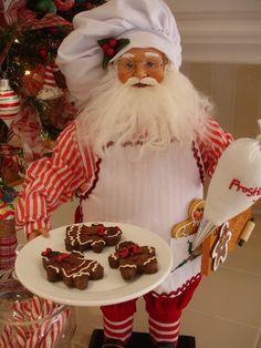 Loving this Santa Chef! Father Christmas, Christmas Music, Christmas Home, Vintage Christmas, Christmas Holidays, Christmas Cookies, Gingerbread Decorations, Santa Decorations, Southern Christmas