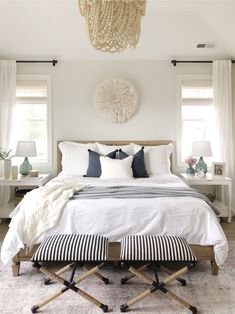 12 Beautiful Beachy Bedrooms – Mommy Thrives French Bedroom Decor, Romantic Master Bedroom, Farmhouse Master Bedroom, Master Bedroom Makeover, Master Bedroom Design, Beautiful Bedrooms, Home Decor Bedroom, Master Suite, Bedroom Ideas
