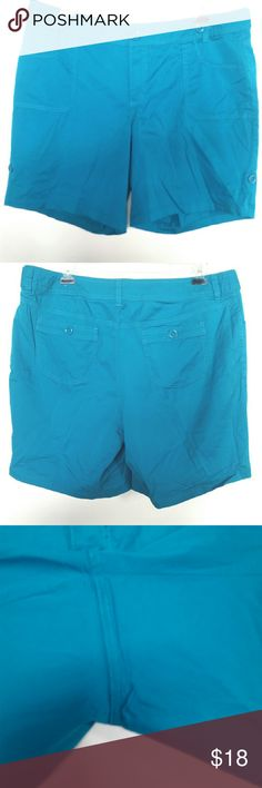 "Venezia by Lane Bryant 20 Turquoise Blue Shorts These Venezia by LB plus size 20 Turquoise Blue Cotton Shorts are in good used condition. They show no signs of wear but they have been hemmed to their current length. (Inner tabs are cut off. They were originally there to wear these shorts at a cuffed length as an option.) No pilling, fading, or stains. 9"" inseam. Waist measures 20.5"" across laying flat, so 41"" around. ::: Bundle 3+ items from my closet & save 30% off when you use the app's…"
