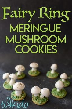 Make a meringue mushroom sugar cookie fairy ring for your fairy themed birthday party. Or just because fairy rings are magical and awesome. Cookie Recipes, Baking Recipes, Snack Recipes, Dessert Recipes, Desserts, Meringue Cookies, Sugar Cookies, Mushroom Cake, Mushroom Cupcakes