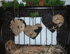Primitive Antique Quilt Heart Ornaments Ornies Black Beige Floral  Set of  3 #NaivePrimitive