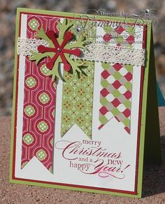 Handmade Christmas Card using scraps. Homemade Christmas Cards, Handmade Christmas, Homemade Cards, Christmas Cards To Make, Paper Cards, Diy Cards, Paper Banners, Karten Diy, Winter Cards