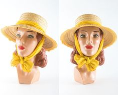 c7a976ba5de7b5 Vintage 1960s Hat   60s Woven Straw Wide Brim Sun Hat with Bright Yellow  Silk Chiffon Scarf (small/medium)