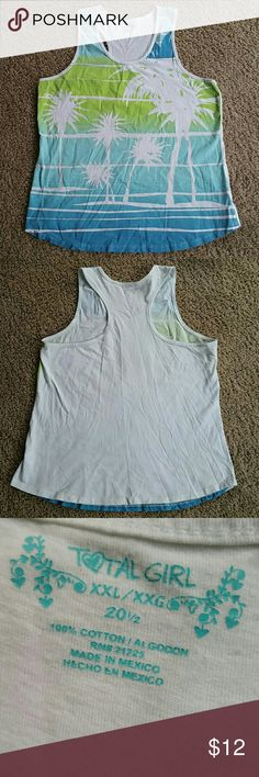 Palm tree racerback In good condition. Only one small light stain on the back.   No trades. To save, make me an offer or bundle with my 25% discount! Total Girl Tops Tank Tops